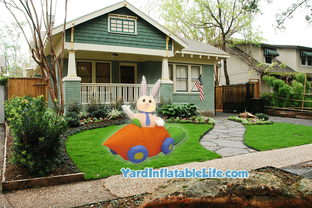 easter bunny in carrot car yard inflatable