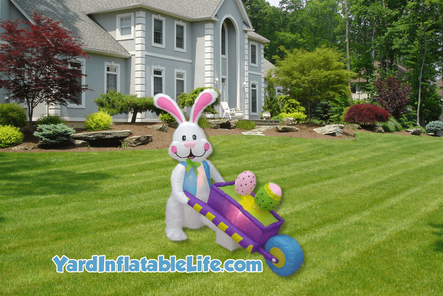bunny and wheelbarrow yard inflatable for Easter