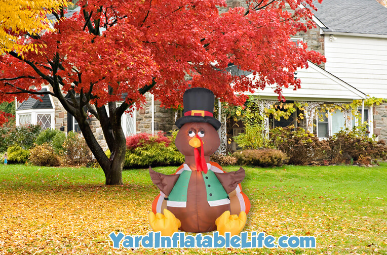 thanksgiving pilgrim turkey inflatable