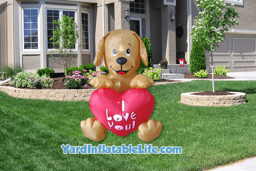 Valentine Dog Yard Inflatable